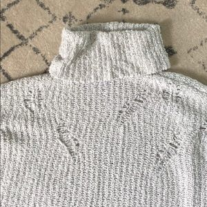 Express Sweaters - Express Distressed Light Grey Cowl Neck